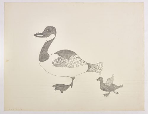 A goose facing the left with a gosling to its right. Presented in a two-dimensional style and using grey.