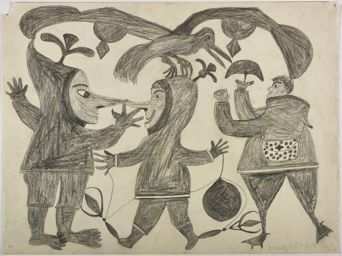 Imaginary scene depicting two humans with long noses, a bird-like animal with strange wings, and another human with duck feet holding an ulu. Presented in a two-dimensional style and using grey.