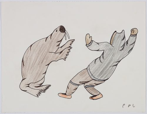 Playful scene depicting a walrus standing on its hind flippers facing a person with their hands in the air and leaning backwards. Presented in a two-dimensional style and using black, brown and orange.