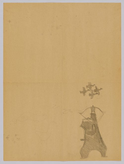 Imaginary scene depicting a human figure aiming a bow and arrow upwards at four birds flying just above. Scene presented in a two-dimensional style and using grey.