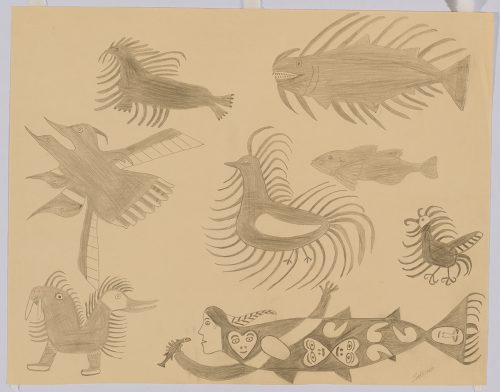 Scene depicting a group of eight imaginary birds and sea creatures, four of them have long stylized feathers. Figures presented in a two-dimensional style and using grey.